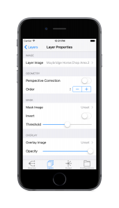 iPhone 6 with the layers properties view